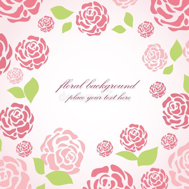 看板卡花卉桃红色玫瑰 向量例证