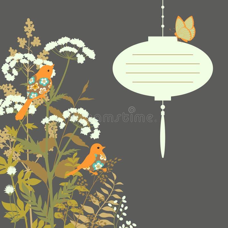 看板卡花卉灯笼纸张 向量例证