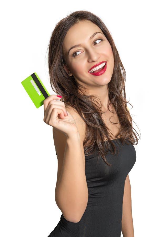 看板卡赊帐查出的白人妇女 免版税库存图片