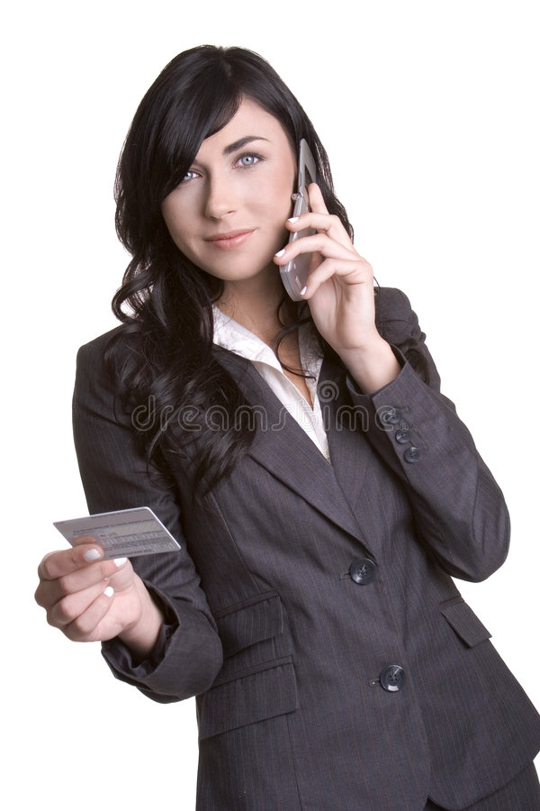看板卡赊帐电话妇女 库存图片