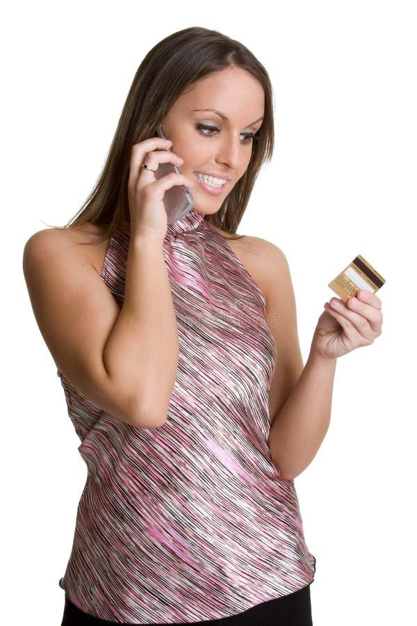 看板卡赊帐电话妇女 图库摄影