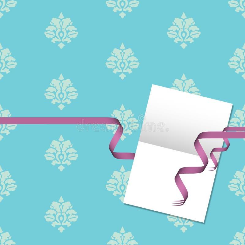 看板卡锦缎礼品模式紫色丝带 向量例证