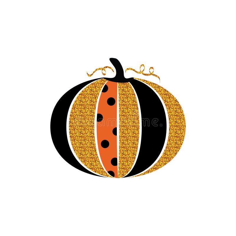 看板卡问候愉快的万圣节 闪烁南瓜和字法 万圣夜迷人的闪耀的南瓜 海报的设计 库存例证