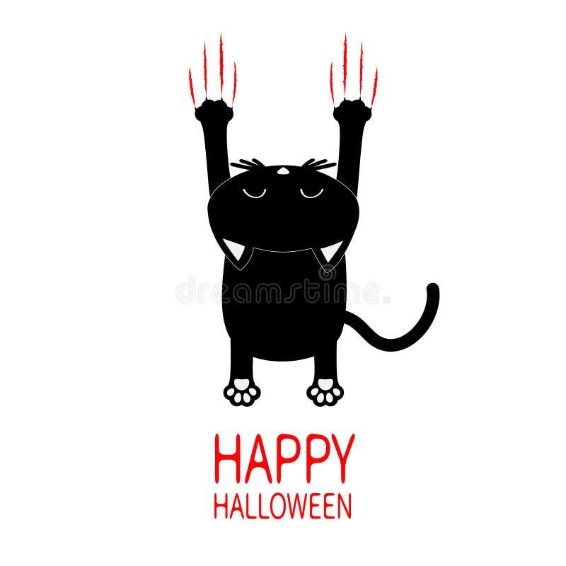 看板卡问候愉快的万圣节 黑色动画片猫 与头的后面看法 红色血淋淋的爪动物抓痕刮轨道 逗人喜爱的滑稽的ch 库存例证