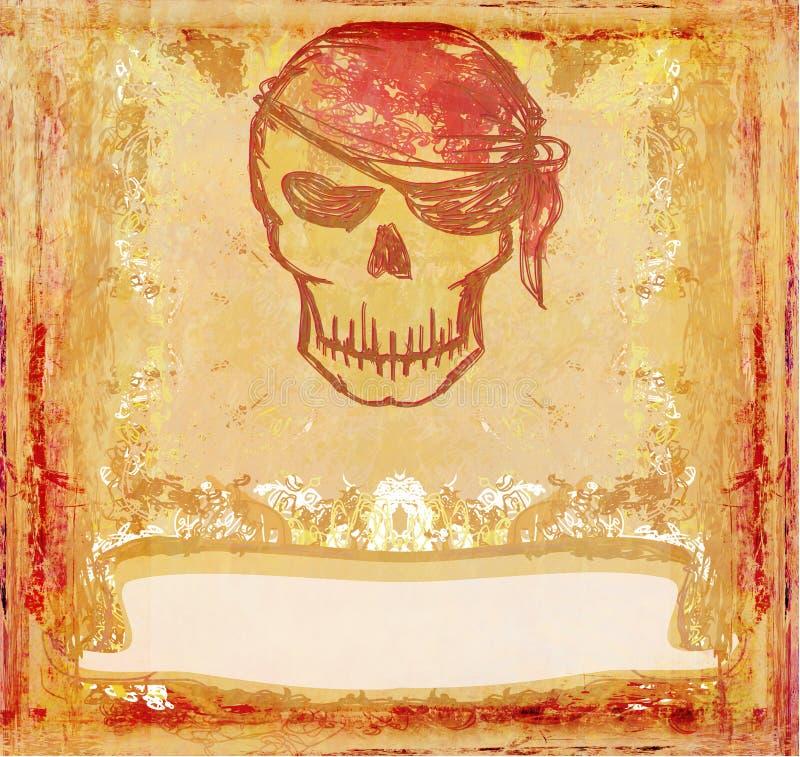 看板卡grunge海盗减速火箭的头骨 皇族释放例证