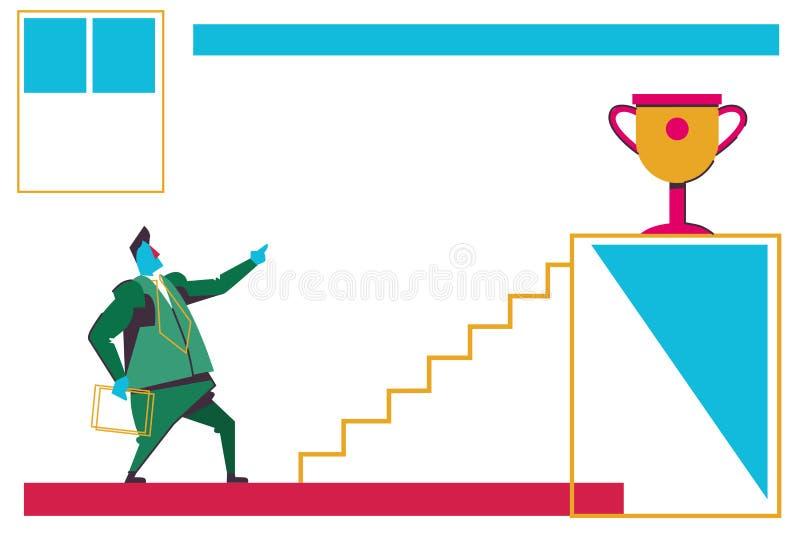看梯子指挥台金黄战利品杯子第一地方冠军企业刺激概念商人事业的商人 向量例证