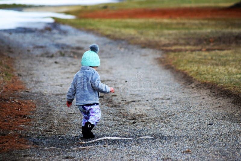 看森林的道路的小孩女孩下来 免版税图库摄影