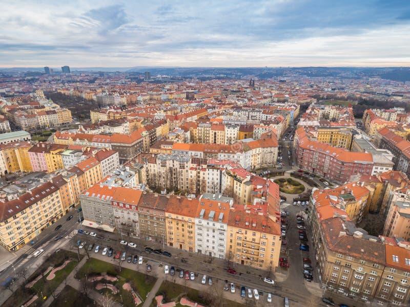 看法从上面从布拉格, Zizkov区 免版税库存照片
