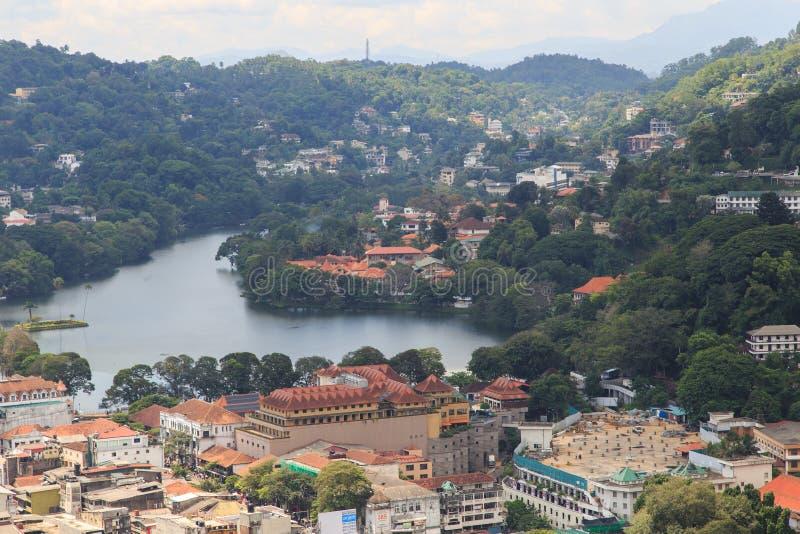 看法从上面市康提斯里兰卡 免版税图库摄影