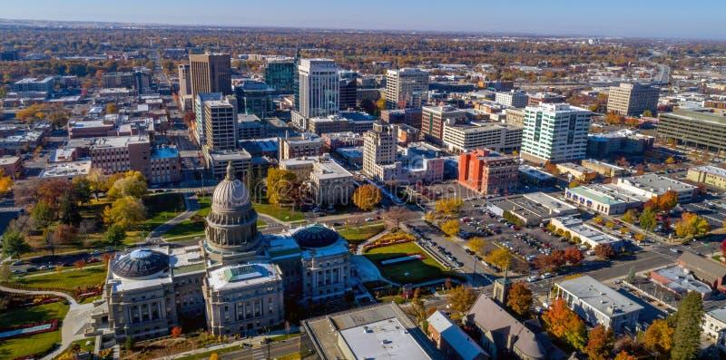 看法从和博伊西的上的爱达荷国家资本大厦 免版税库存照片