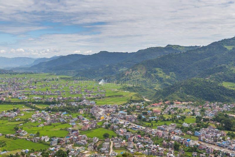 看法从在博克拉镇的和平塔观点 库存照片