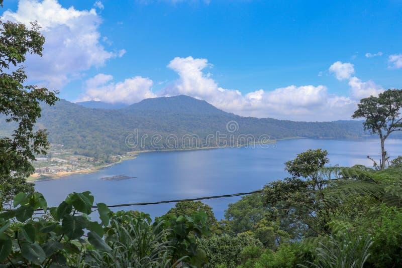 看法从山土坎到巴厘岛的Buyan湖在印度尼西亚 豪华的热带植被和高大的树木在一个陡坡 免版税库存图片