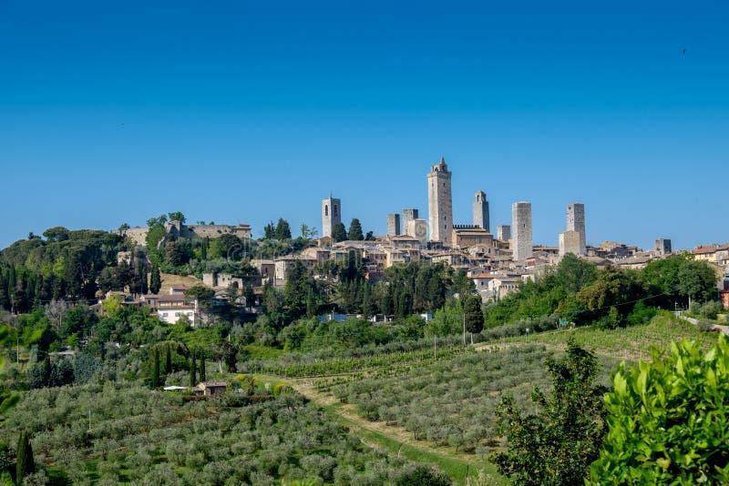 看法向圣吉米尼亚诺,托斯卡纳,意大利 图库摄影
