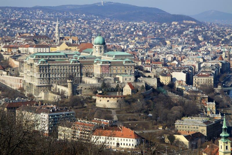 看法向布达城堡,布达佩斯,匈牙利 图库摄影
