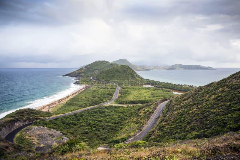 看法对圣基茨岛海岛的东部和向尼维斯岛 图库摄影