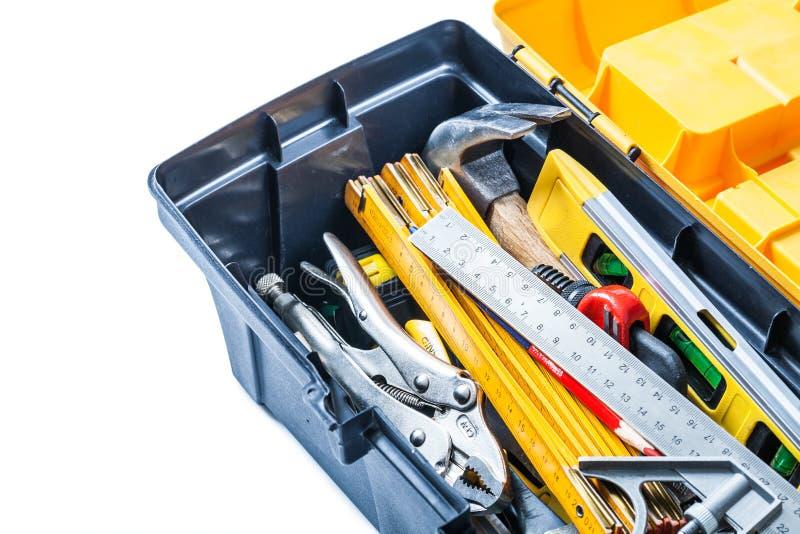 看法工具的关闭在被隔绝的工具箱 库存照片