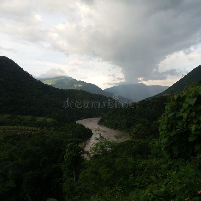 看法形式Manakamana尼泊尔 免版税库存照片