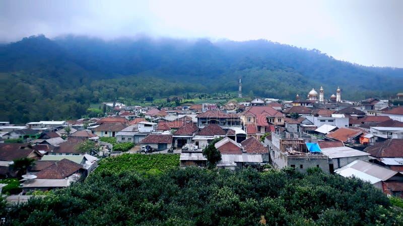 看法村庄在Cangar,巴图,东爪哇,印度尼西亚 库存照片