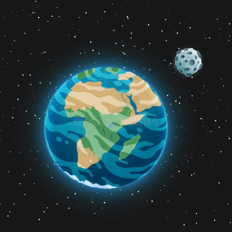 看法行星地球和它卫星从空间的月亮 与海洋、大陆和云彩的发光的蓝色球形在 皇族释放例证