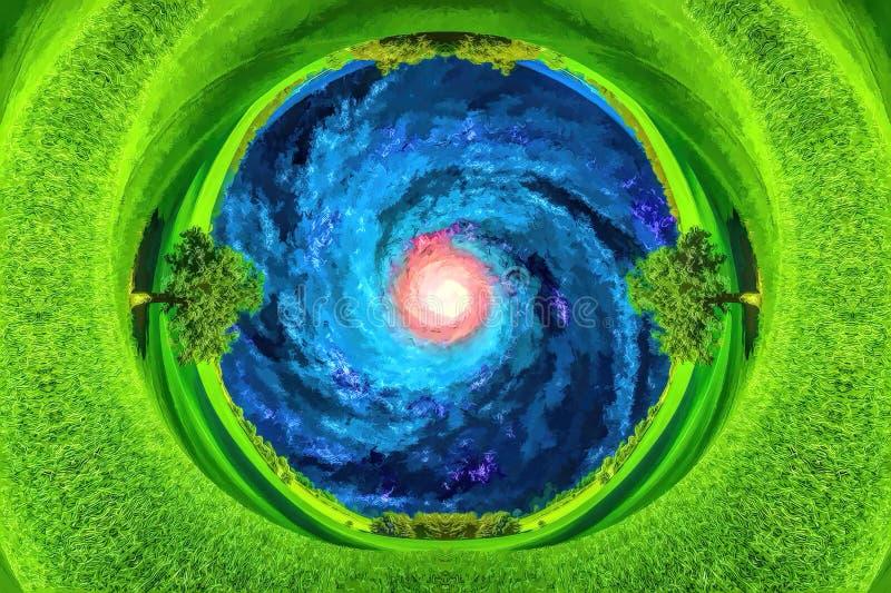 看法通过地球钻子在银河星系的 库存例证