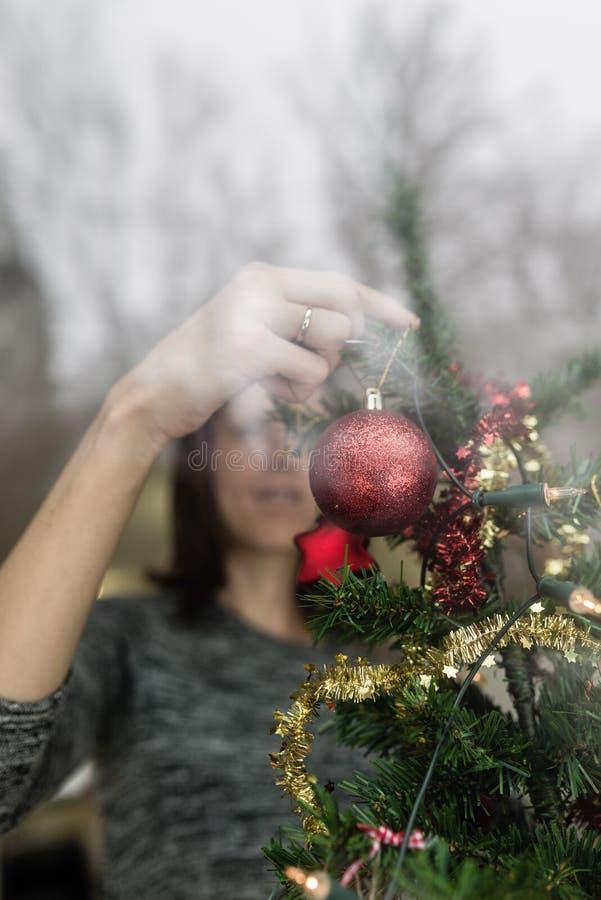 看法通过垂悬在树的妇女的窗口红色中看不中用的物品 库存照片