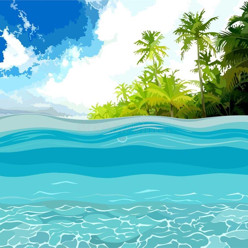 看法通过海洋岸的深度与棕榈树的 向量例证