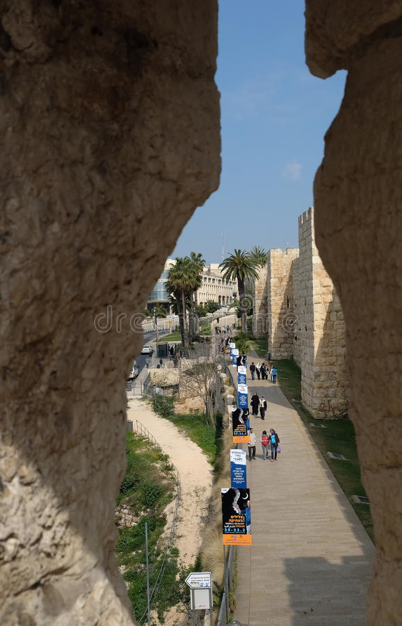 看法通过耶路撒冷旧城的雅法门的漏洞 库存照片