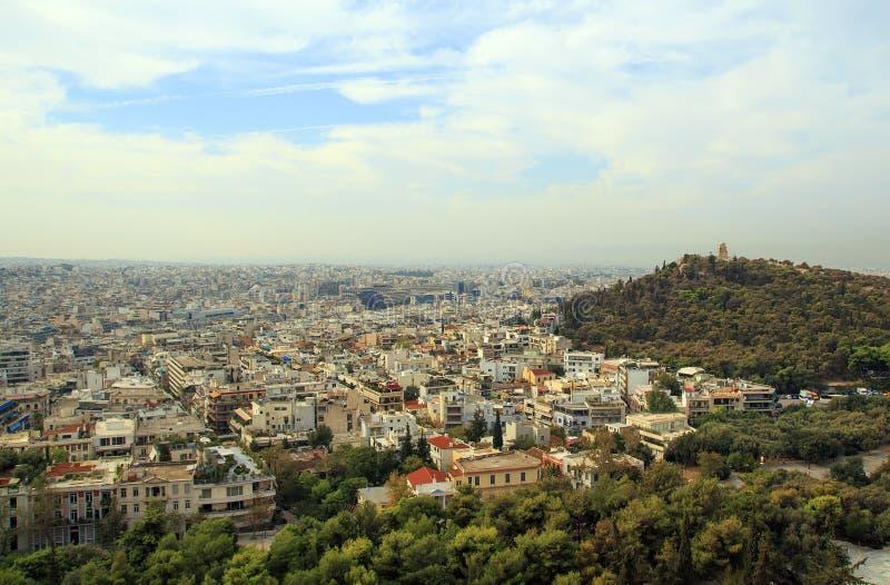看法雅典,从上城的希腊希腊语的 库存照片