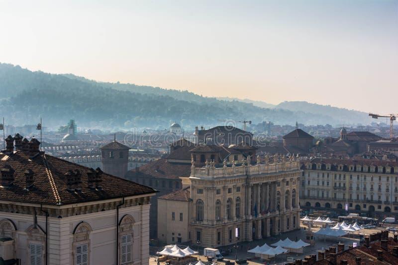 看法从上面广场Castello在都灵 图库摄影