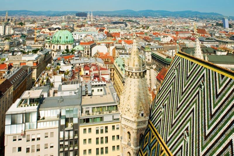 看法从Stephansdom的维也纳屋顶 库存照片