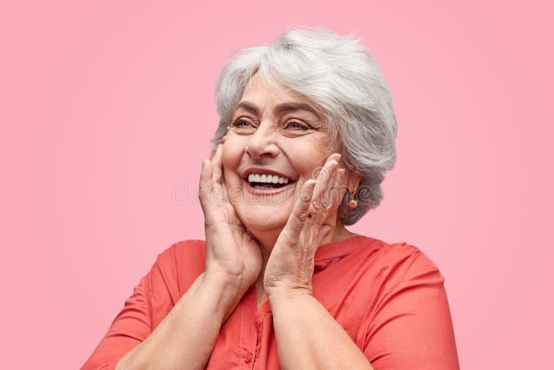 看激动的年长的妇女  库存照片