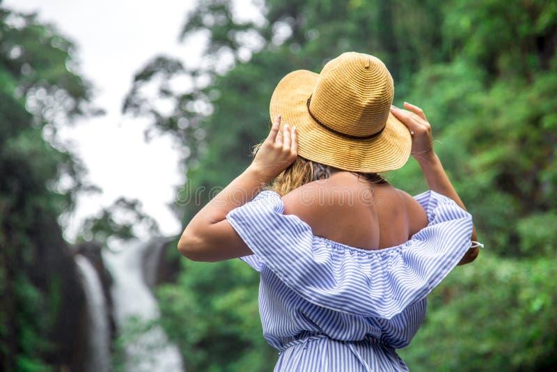 看瀑布的帽子的女孩 免版税库存照片