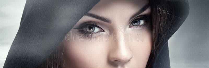 看照相机的布朗眼睛 免版税库存图片
