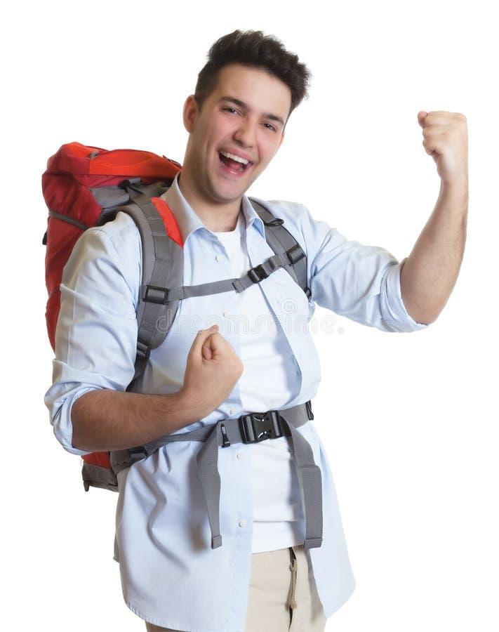 看照相机的愉快的背包徒步旅行者 库存图片