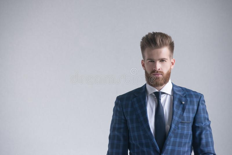 看照相机的时髦的英俊的有胡子的商人隔绝在灰色 在左边是您的商标或文本的一个自由空间 免版税库存图片