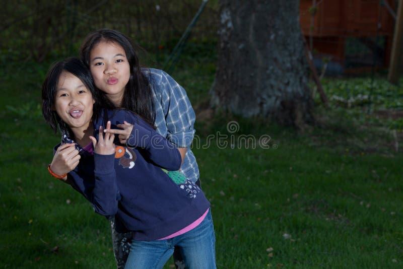 看照相机的画象年轻姐妹的 库存图片