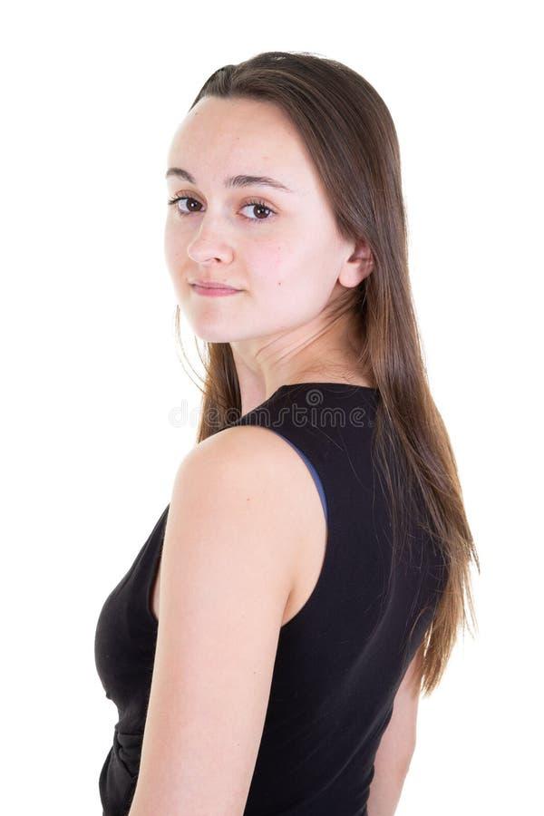 看照相机的美丽的年轻女人少年隔绝在白色背景 免版税库存图片