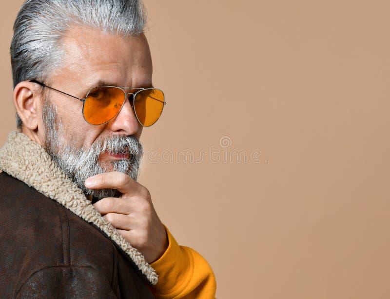 看照相机的英俊的沉思老人画象  图库摄影