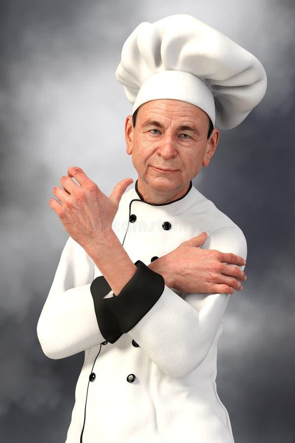 看照相机-接近的微笑的厨师 皇族释放例证