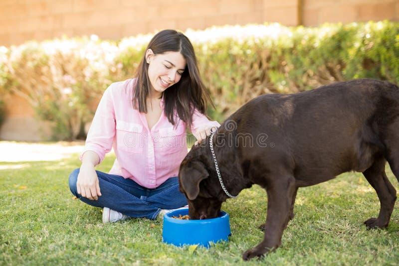 看狗吃的可爱的少妇 库存照片