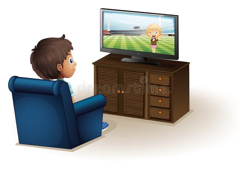 看电视的一个年轻男孩 向量例证