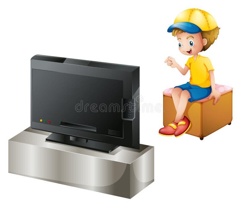 看电视的男孩 向量例证