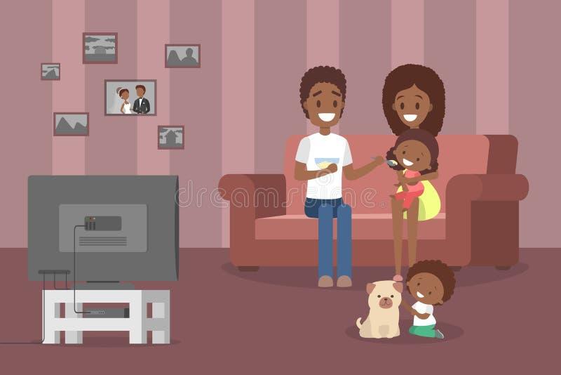 看电视的系列在客厅 皇族释放例证