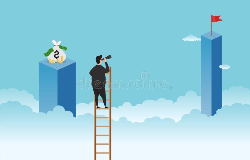 看的商人主要和正确的目标视觉为成功企业概念例证 库存例证