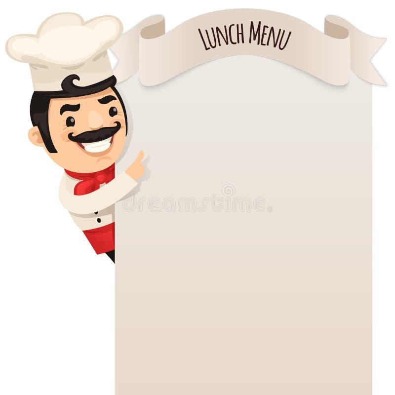 看空白的菜单的厨师 库存例证