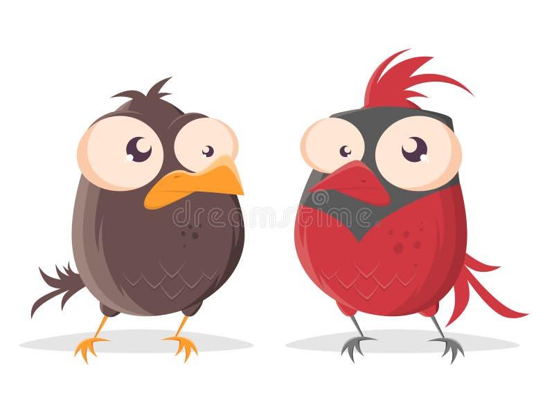 看红色主要鸟的动画片鸟 皇族释放例证