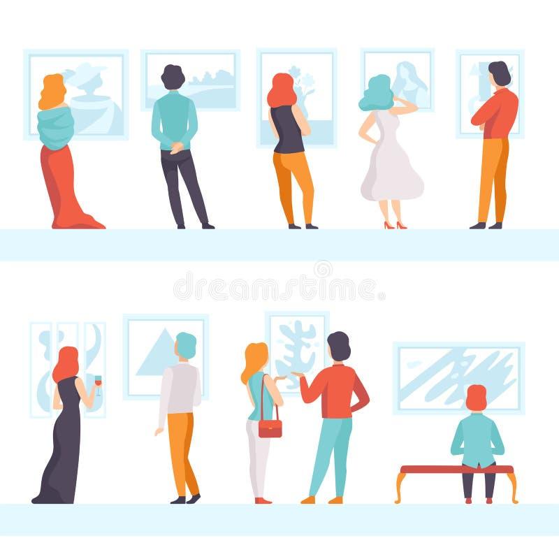 看绘画垂悬在墙壁集合,陈列访客的人们观看博物馆展览在美术画廊,后面 向量例证