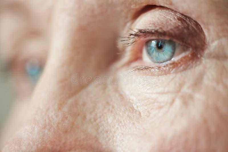 看老孤独的妇女 图库摄影