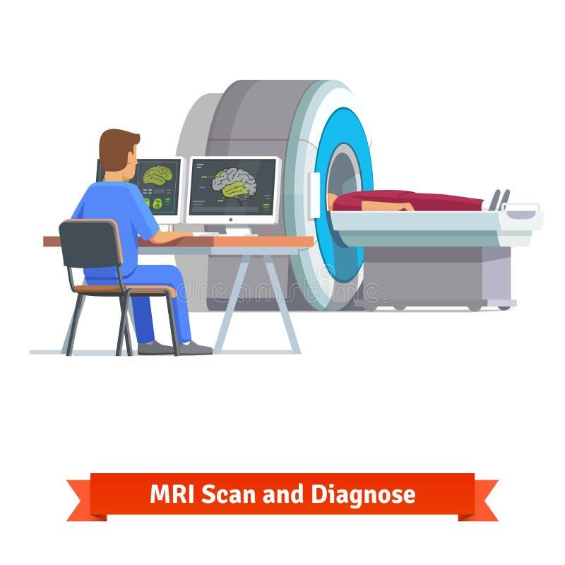 看脑部扫描的结果医生 MRI 向量例证