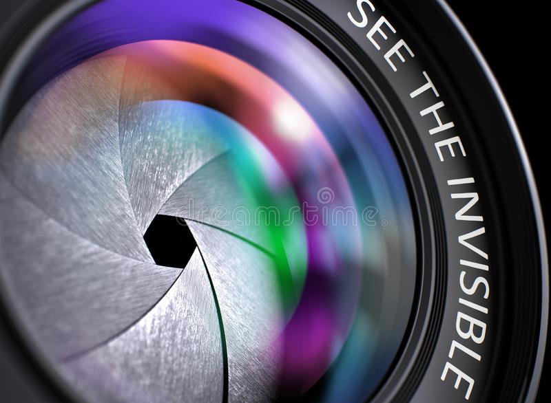 看见无形在摄象机镜头 特写镜头 3d 免版税图库摄影